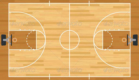 Realistic Vector Basketball Court Basketball Court Wall Murals Sports Wall