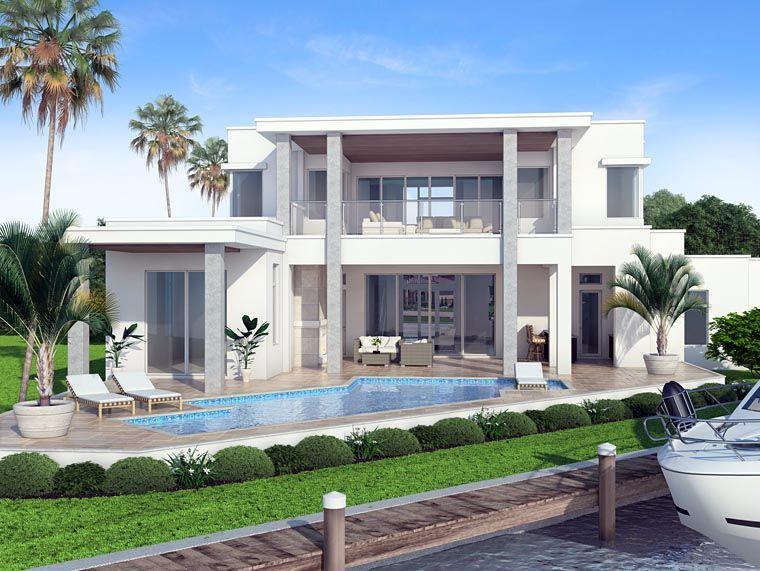 Beautiful Contemporary Modern Rear Elevation Of Plan 52917