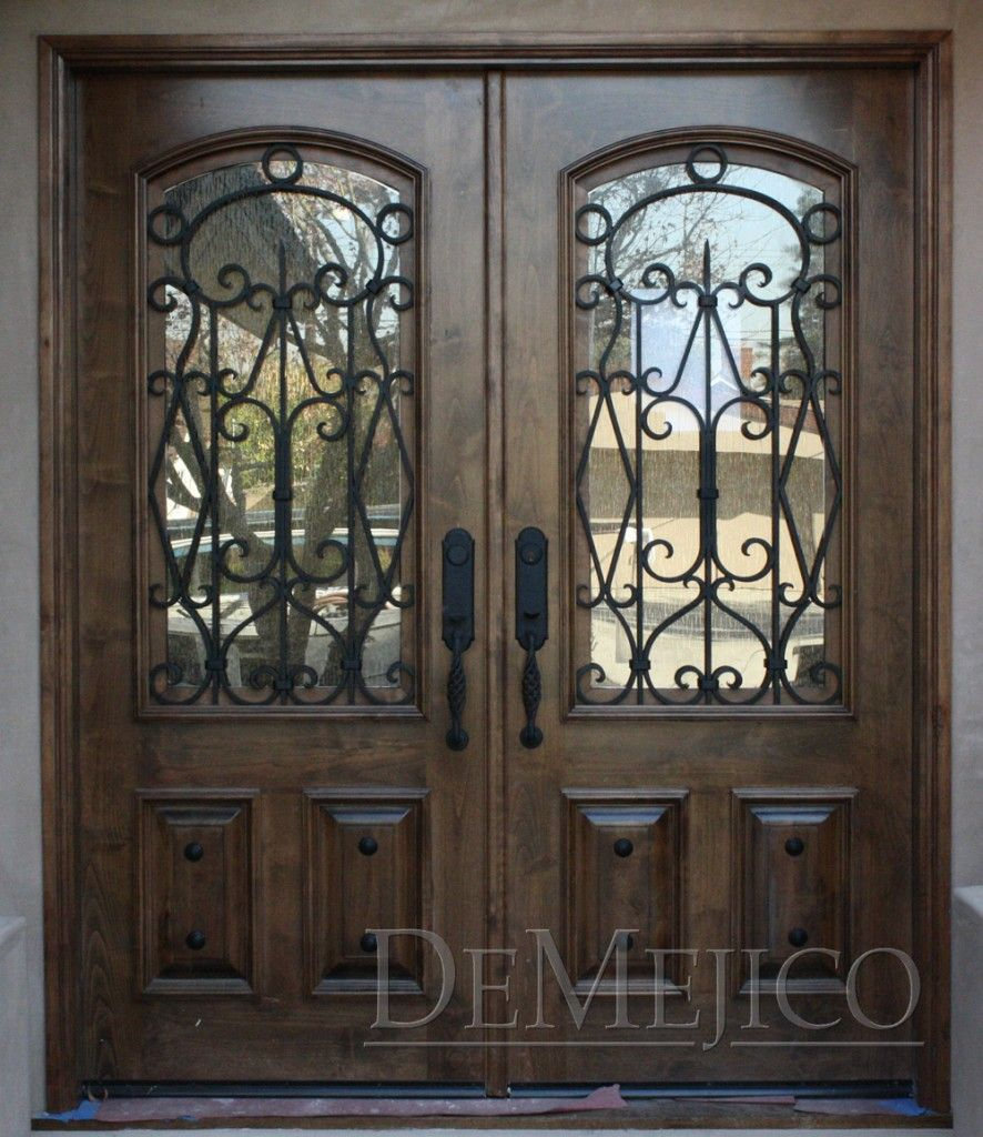Dark Wooden Double Front Entry Doors Exterior With Wrought Iron