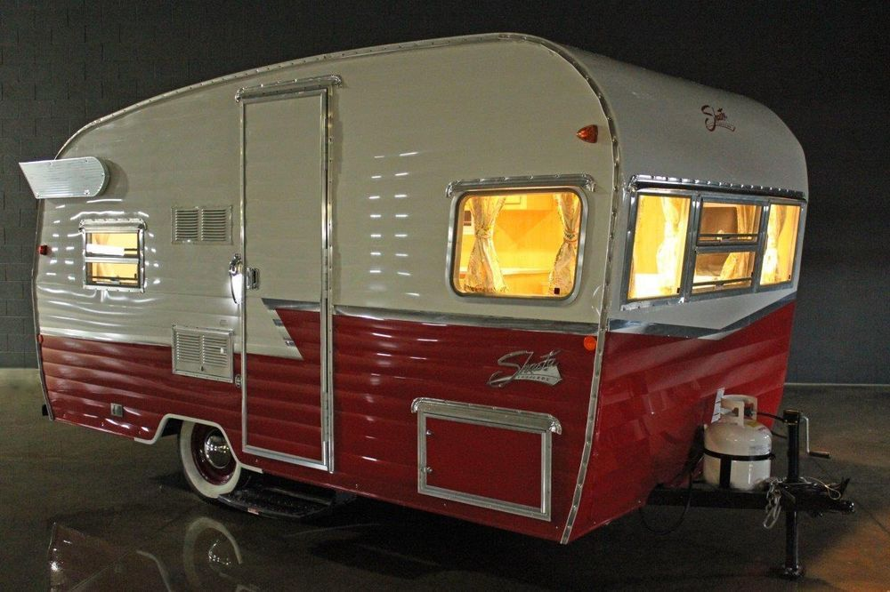 1961 Shasta Airflyte Vintage Rv Reissue Retro Travel Trailer Canned Ham Camping Trailers