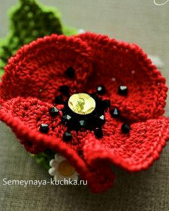 объемный цветок мак крючком | Мативы для Ирландки | Pinterest