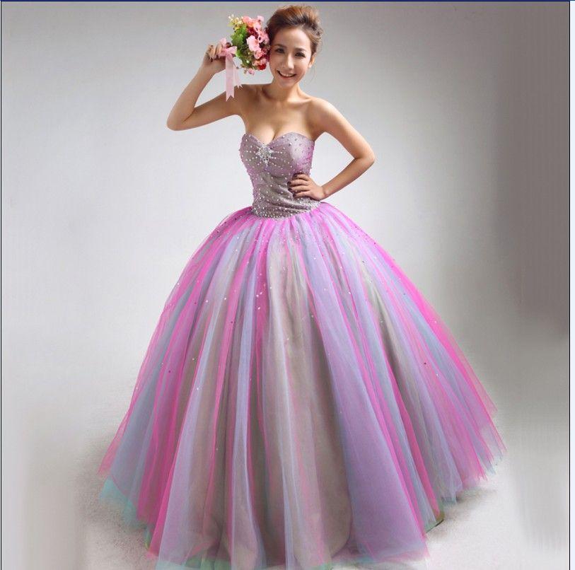 Robe de mariée sans bretelles color bloc