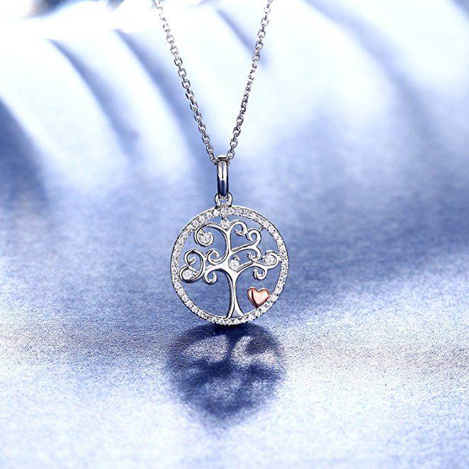Lebensbaum Kette, 925 Echt Silber Halskette Rund Charm Anhänger Schmuck  Filigran Amulett Baum des Lebens aefccb1cdf