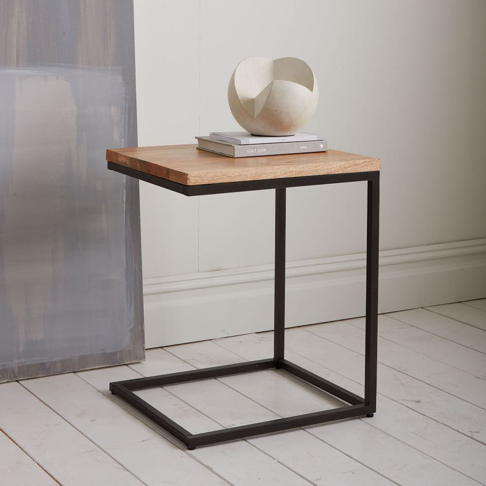 Box Frame C-Base Side Table - Rustic Mango/Antique Bronze | For the ...