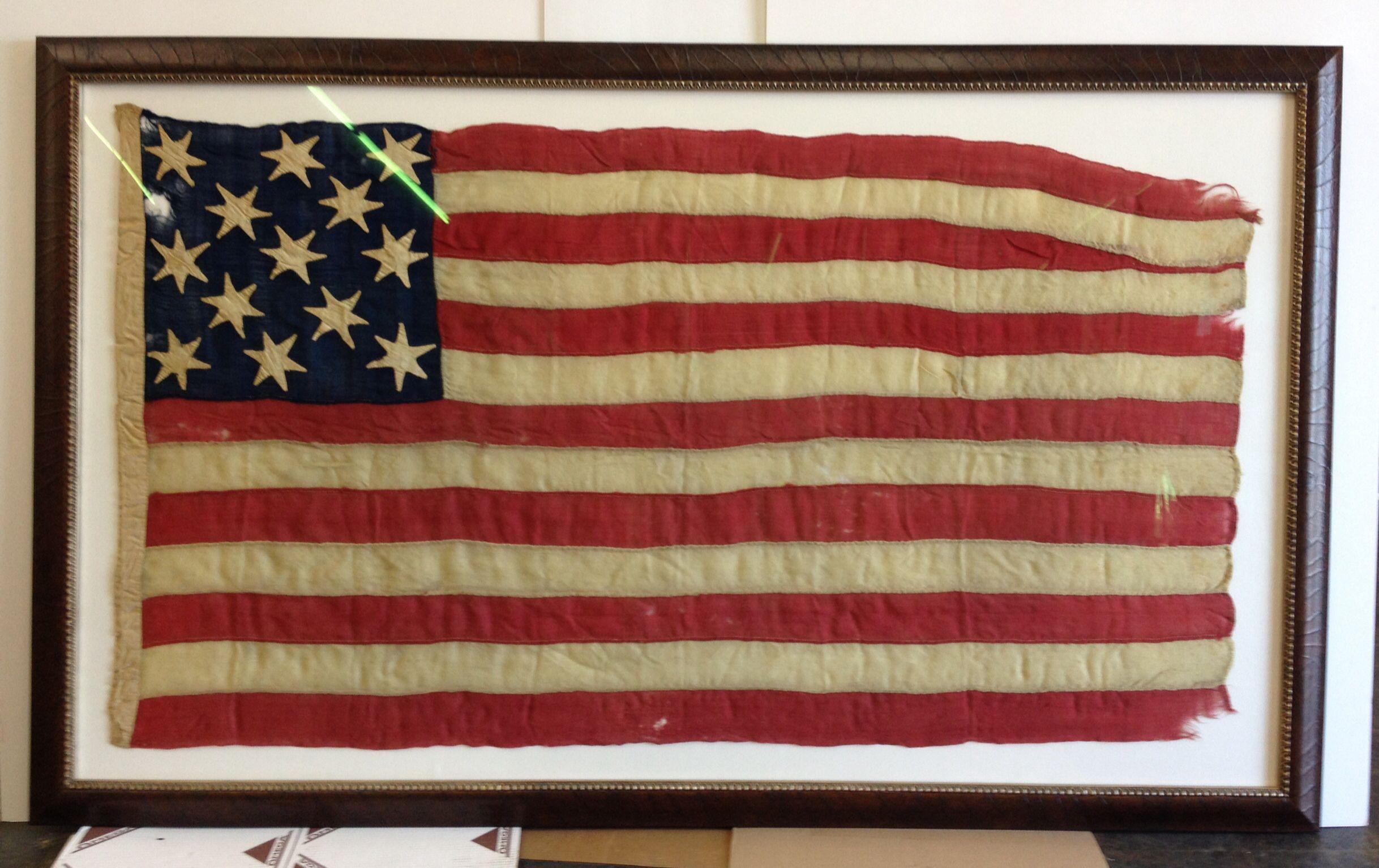 Vintage US flag framed in a tobacco leaf frame and TruVue Optium ...