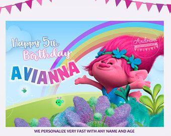 Telon de Fondo Trolls para decorar mesa de dulces fiesta cumpleaños, banner trolls fiesta temática, Decoracion Trolls fiesta infantil