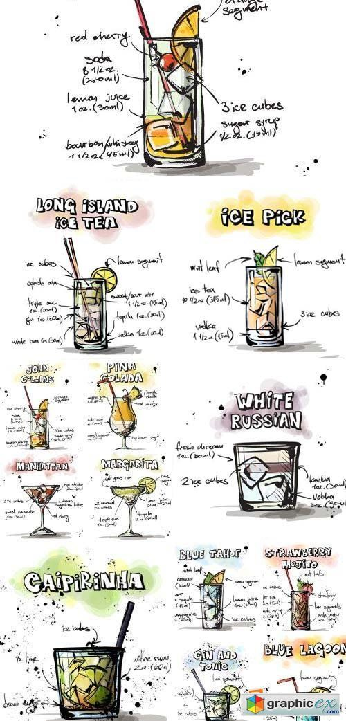 Hand Drawn Illustrations Of Cocktail 25xeps To Eat To Drink