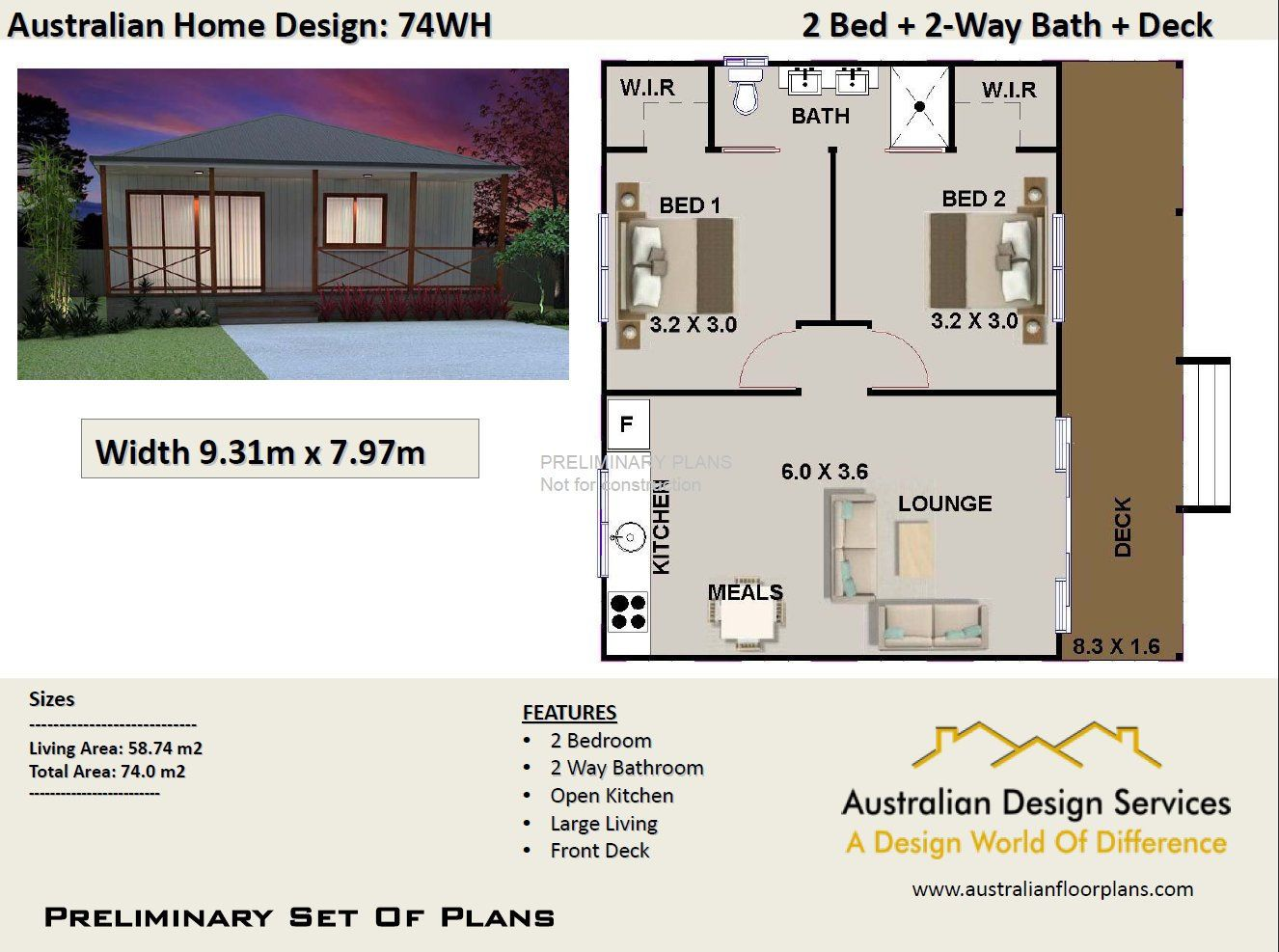 775 Sq Ft 58 M2 Australian 2 Bedroom Concept Plans 2 Etsy House Plans Australia House Plans Bedroom Floor Plans