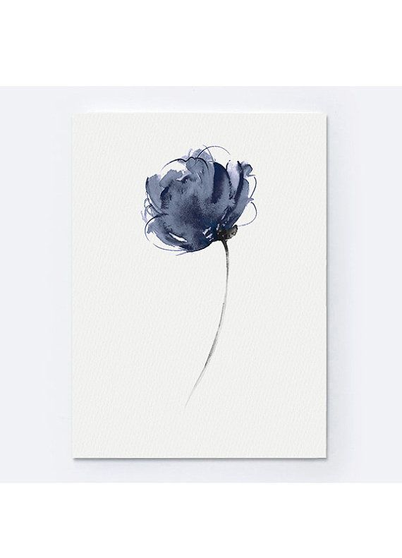 Abstract Navy Flower Watercolor Art Print Modern Floral Painting