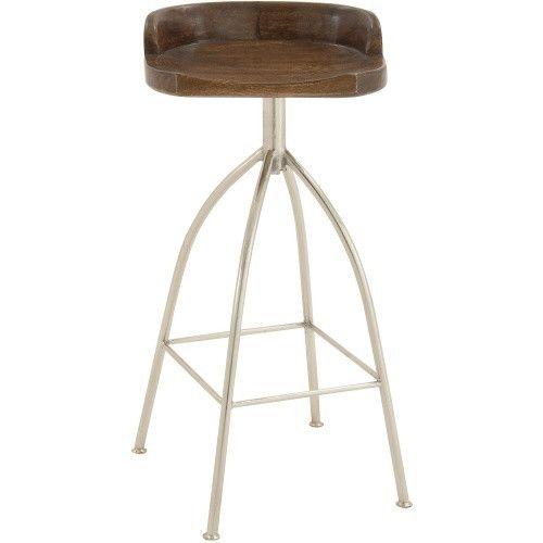 Decmode Round Low Back Metal Barstool With Wood Seat Metal Bar