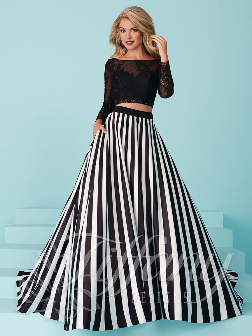 2e9241054499 Tiffany Designs 16216 is a trendy two piece prom gown with off the shoulder  top and half-sleeves. Complete with an A-line printed satin skirt with side  ...