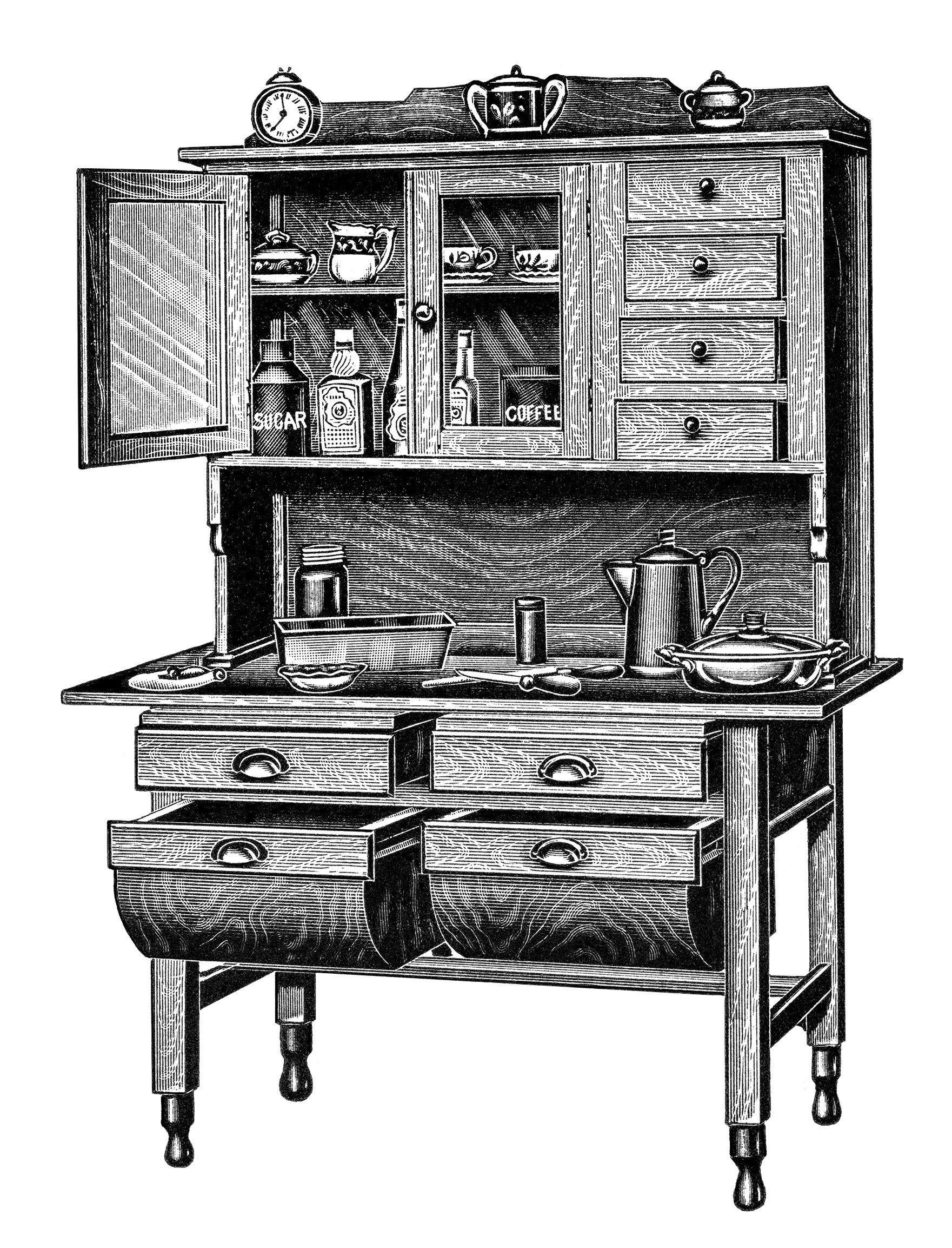 Kitchen Cabinets Free Vintage Clip Art