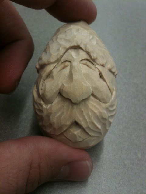 Hand carved santa bass wood egg santas pinterest