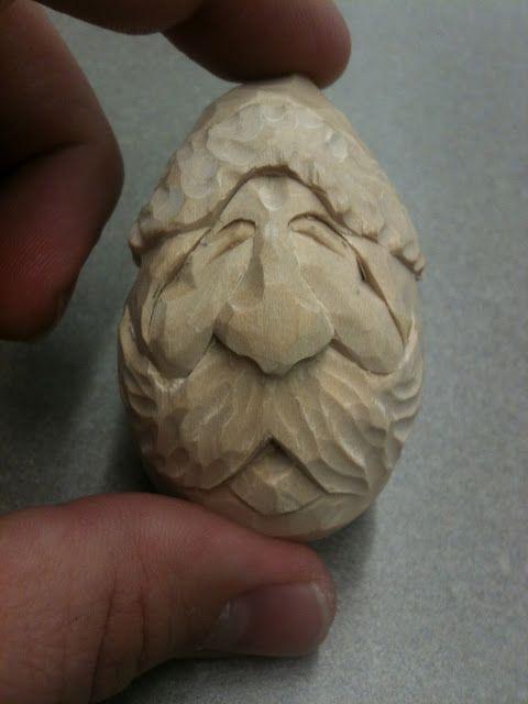 Hand carved santa bass wood egg santas wood carving patterns