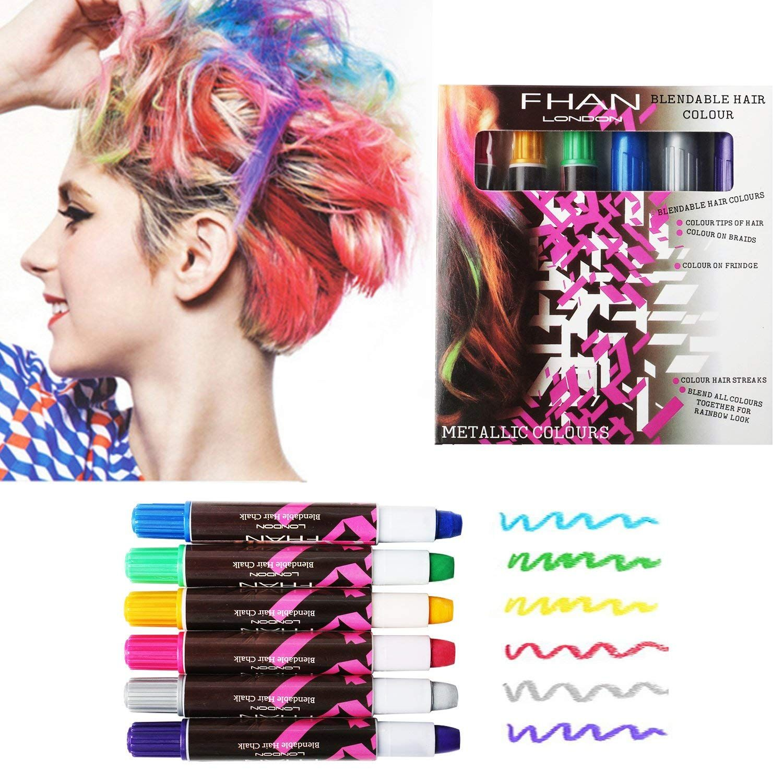 6 PCS Hair Chalks, Temporary Non-Toxic Portable Hair ...