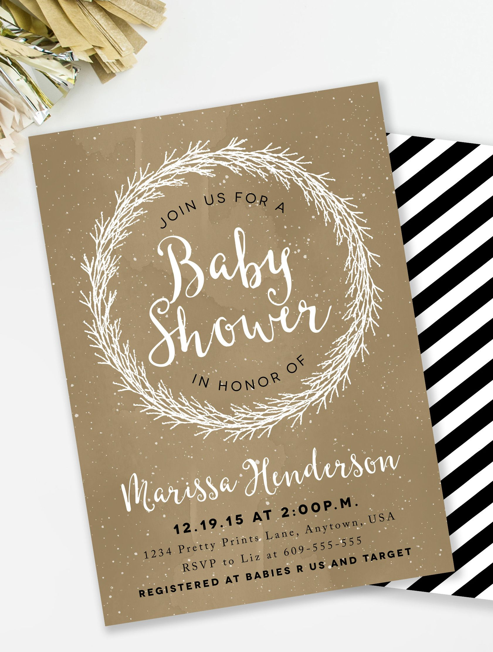 Rustic Baby Shower Invitation Black And Gold Winter Gender Neutral Bridal H2