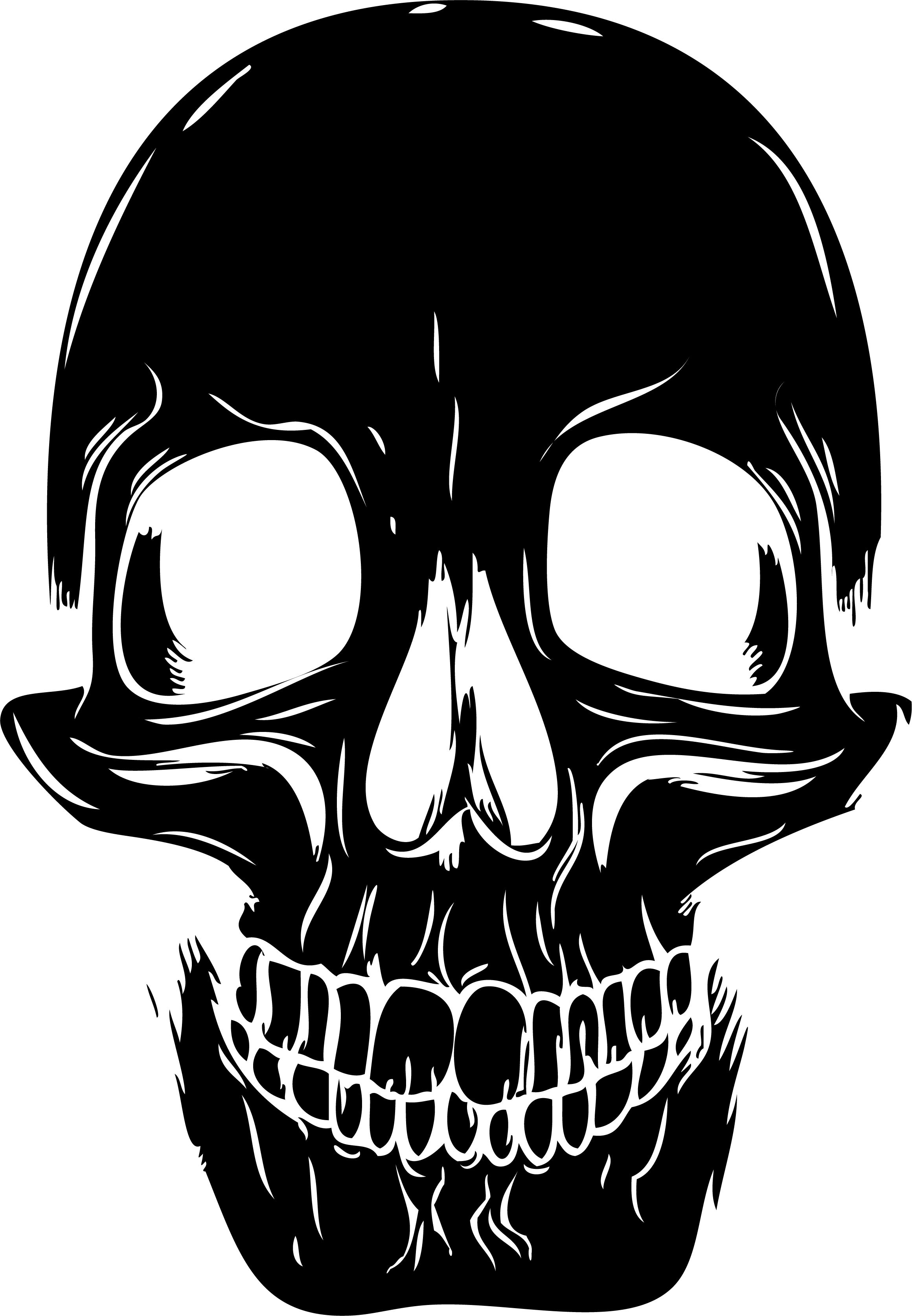 This spooky human skull silhouette wall sticker will add a ...