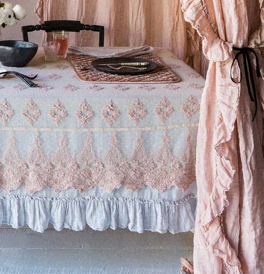 Ruffled Table Cloths Lightweight Sheer Linen Single Layer Tablecloth