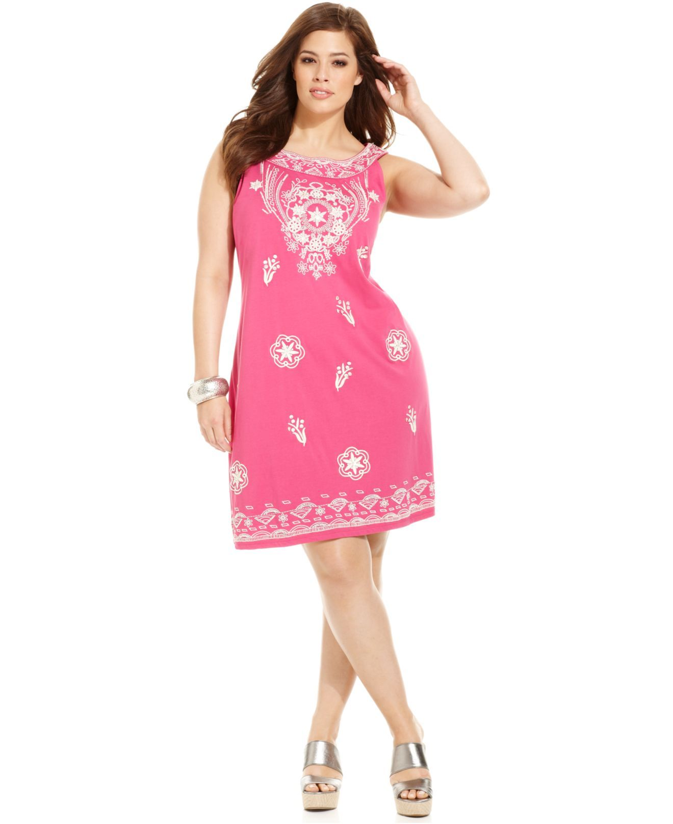 Charter Club Plus Size Dress, Sleeveless Embroidered A-Line - Plus ...