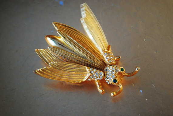 Exotic vintage 80s gold tone metal  trembler fly bug by VezaVe