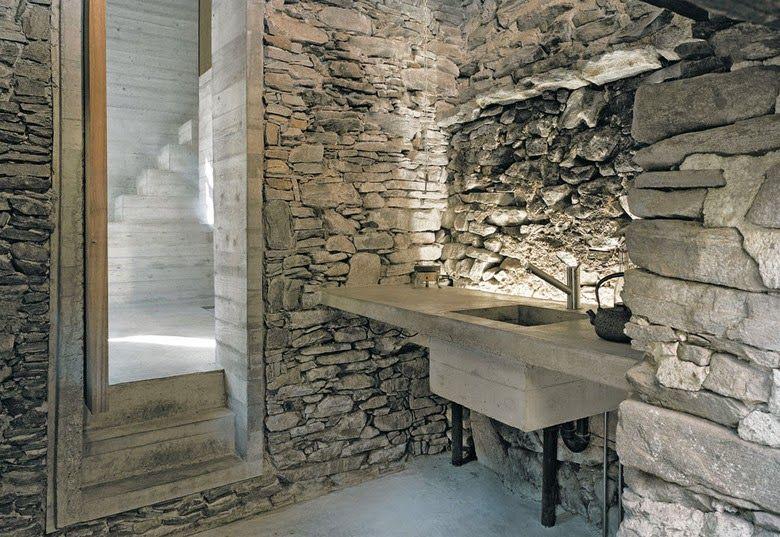 Summer House in Linescio, Switzerland, Buchner Bründler Architekten, simplicity, minimalist, minimal, stone, concrete, renovation, refurbishment