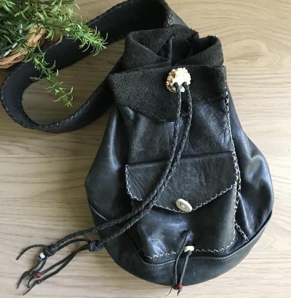 1b656fd61 Vintage Leather Bucket Bag, Black Genuine Leather Single Strap Drawstring  Sling Backpack with Antler Buttons and Brass Buckle, Boho Style