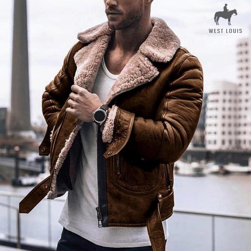 Faux Fur Lapel Leather Jacket in 2020 Modern men street