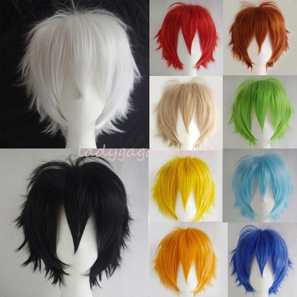 Details about unisex women men straight short hair wig cosplay party