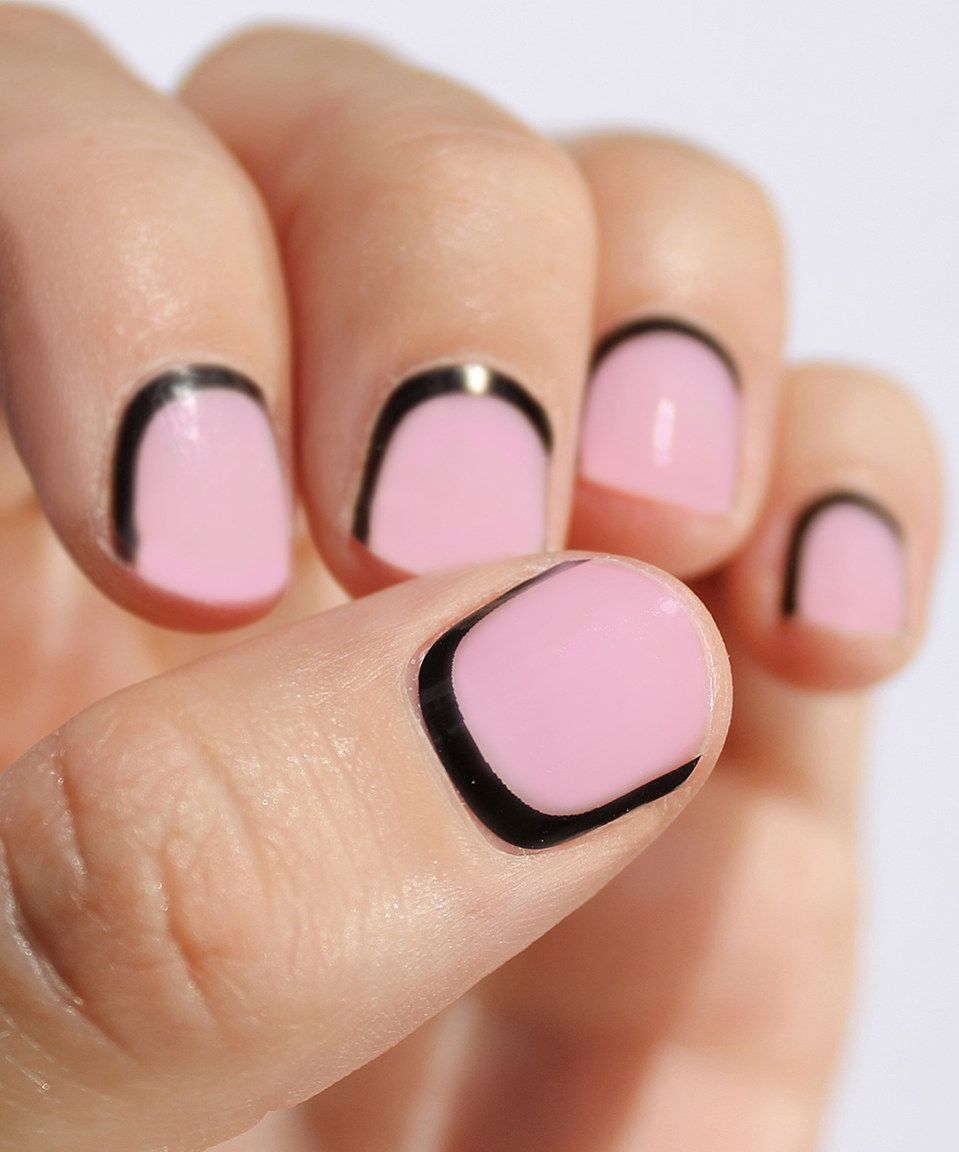 This Light Pink & Black Outline Nail Wraps - Set of Two by So Gloss ...