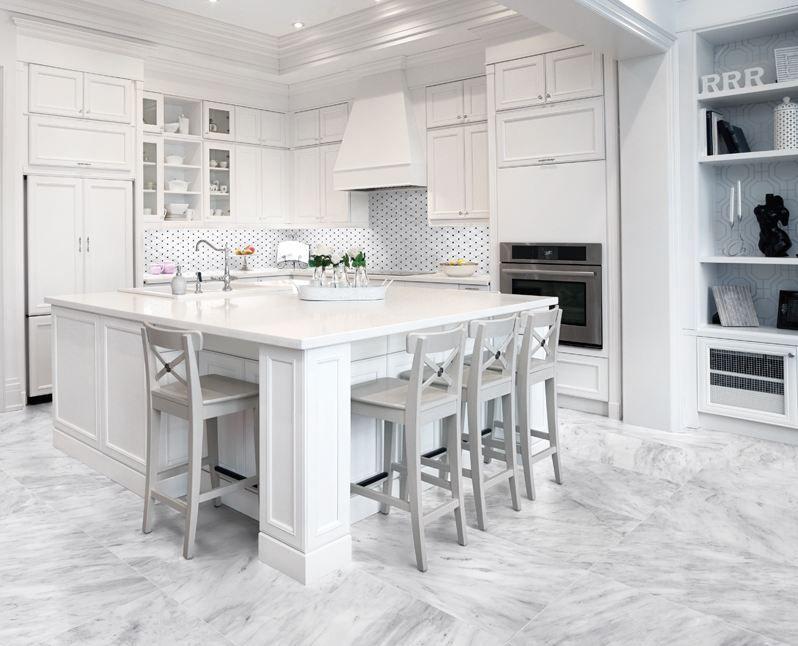Bianco Lara marble 12X24 floor and Clipped Diamond