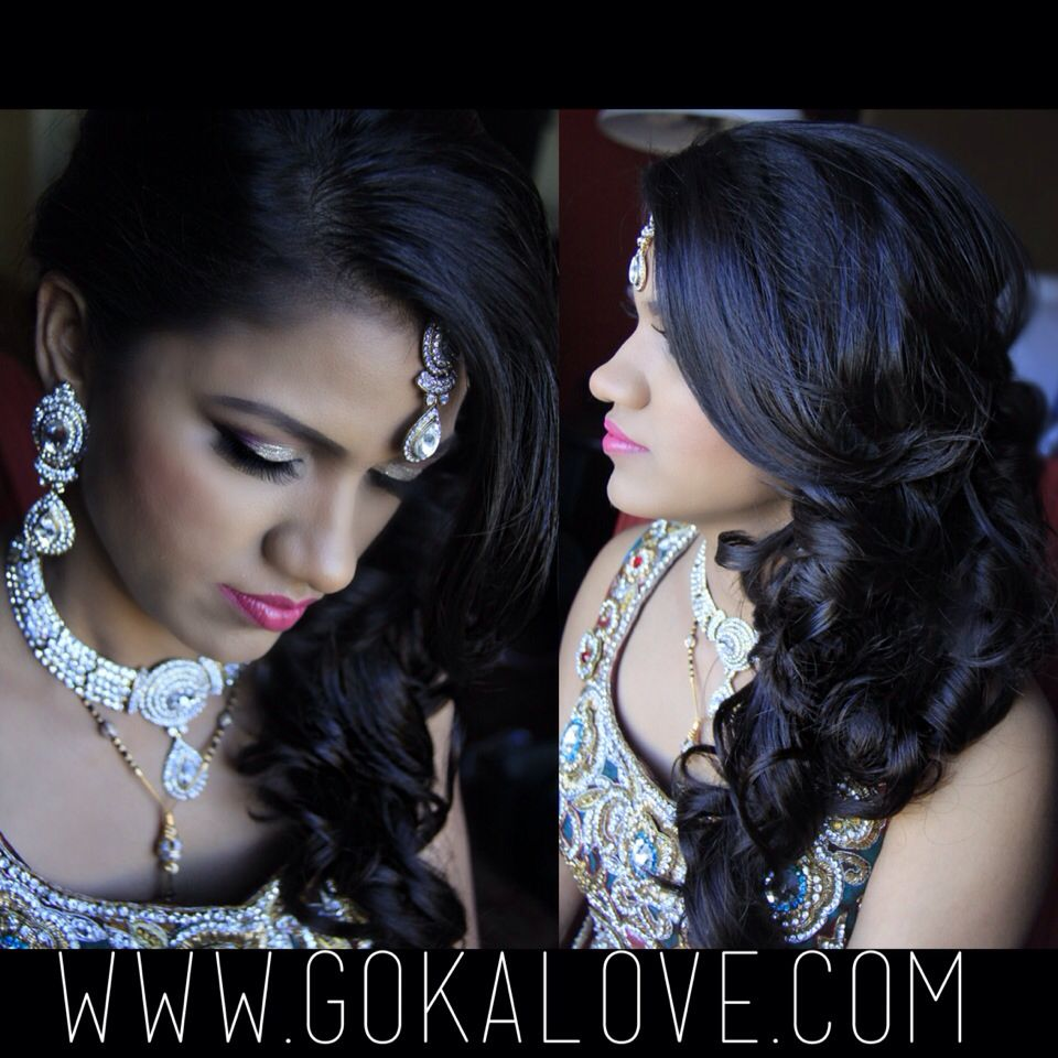 bridal hair and makeup for an indian wedding reception in