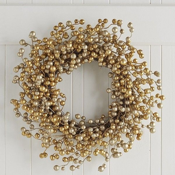 """Glitter Berry Wreath Gold 21"""" ($40) ❤ liked on Polyvore featuring home, home decor, holiday decorations, holiday wreaths, gold home accessories, holiday decor, gold home decor and holiday home decor"""