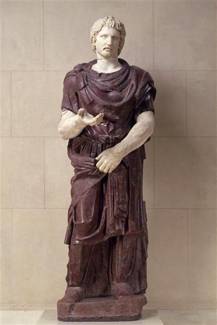 Captured barbarian, Roman statue (marble, porphyry), 2nd century AD, (Musée du Louvre, Paris).