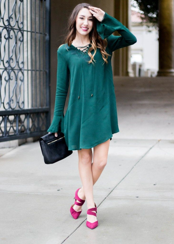 Moo's Musing Green Bell Sleeves Lace up dress from target with maroon cosmo coro heels and black clutch holiday Christmas wedding outfit