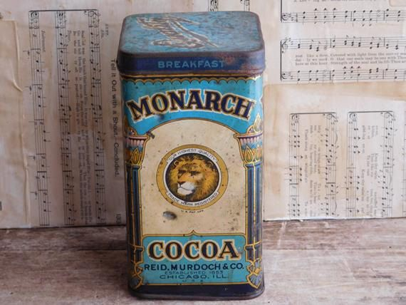 antique monarch cocoa tin food canister 1930 s breakfast