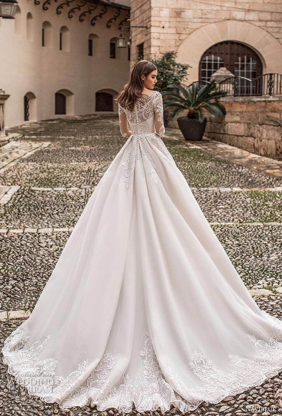 c60ce5eaf0e naviblue 2019 bridal long sleeves illusion off the shoulder sweetheart  neckline heavily embellished bodice princess romantic a line wedding dress  lace back ...