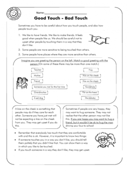 Good Touch - Bad Touch (1pg) Bad Touch, Therapy Worksheets, Social Skills  Lessons