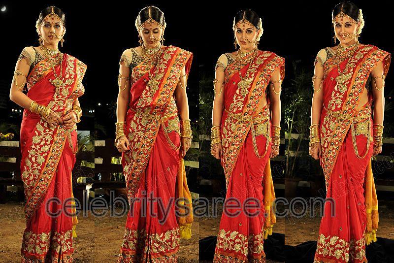 Designers Taapsi In Orange Bridal Sari