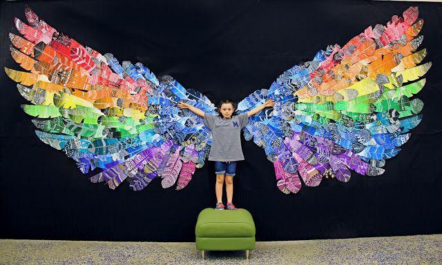 Feather Wings Mural Smart Class School Art Projects