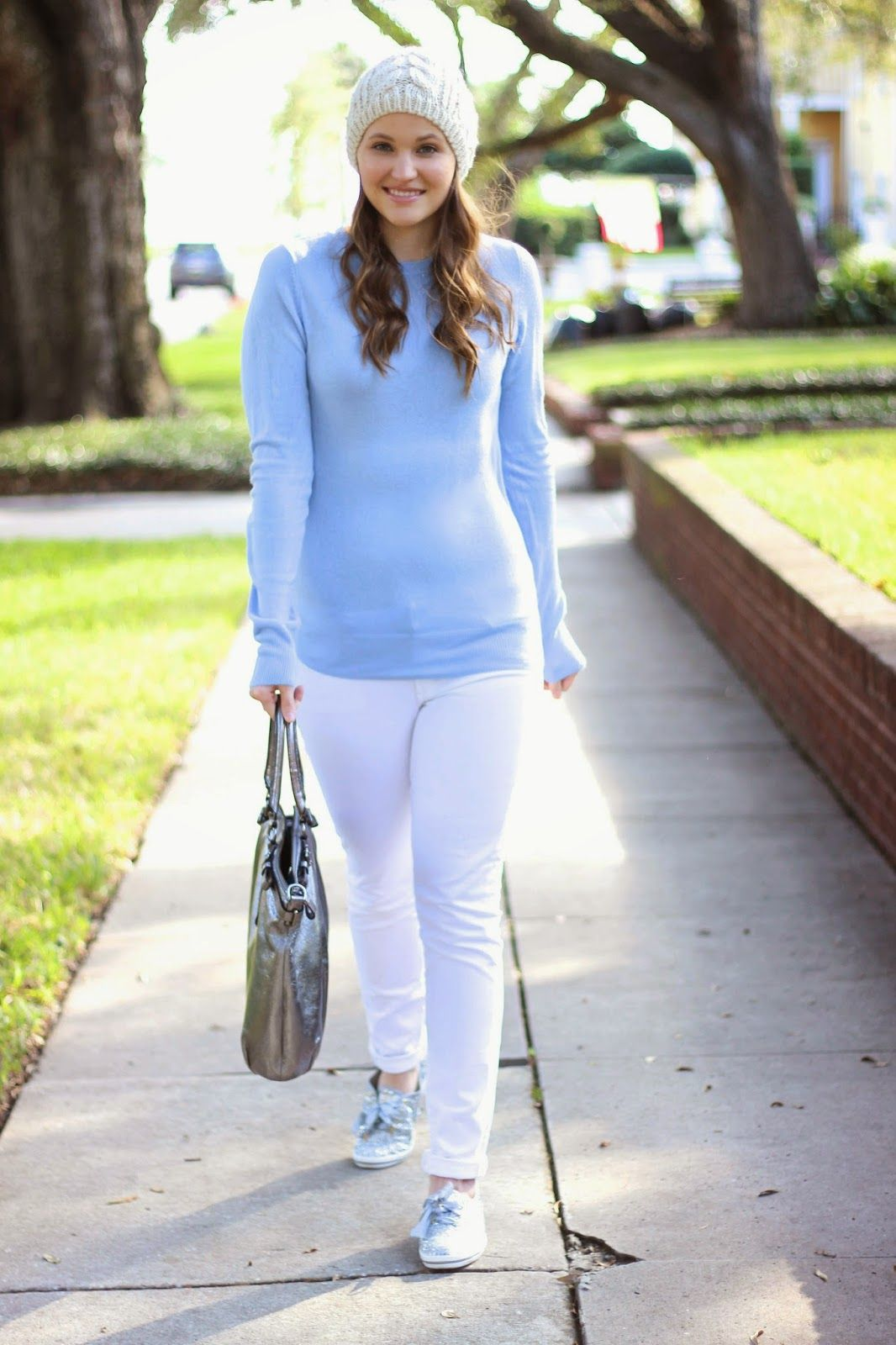 276ce12638b Kelly Elizabeth Style  Icy Blue Sweater - cable knit beanie  Anthropologie   light blue sweater  Forever21  white jeans  Citizens of Humanity  ...
