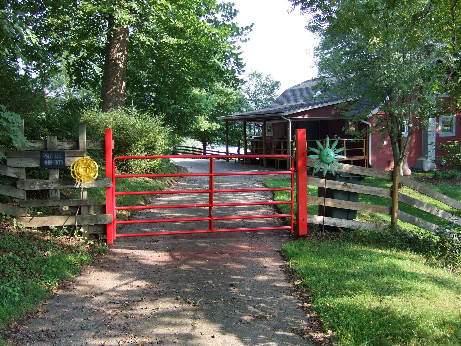 A winding private road welcomes you to your vacation on the farm...