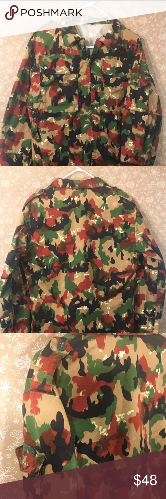 ef2d975e36b91 Camouflage Swiss Military 80s Vintage Field Jacket The Swiss Army m83  Alpenflage camouflage Jacket size L