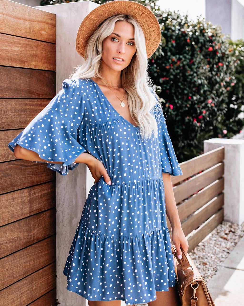 Hailey Polka Dot Babydoll Dress Blue Vici Spring Outfits Boho Boho Chic Fashion Spring Outfits [ 1280 x 1024 Pixel ]