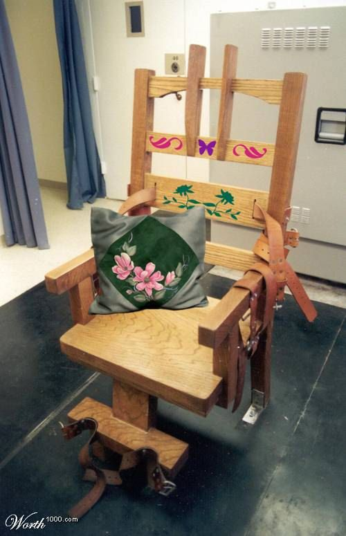 electric chair with artwork and a soft pillow | comedy, truth and