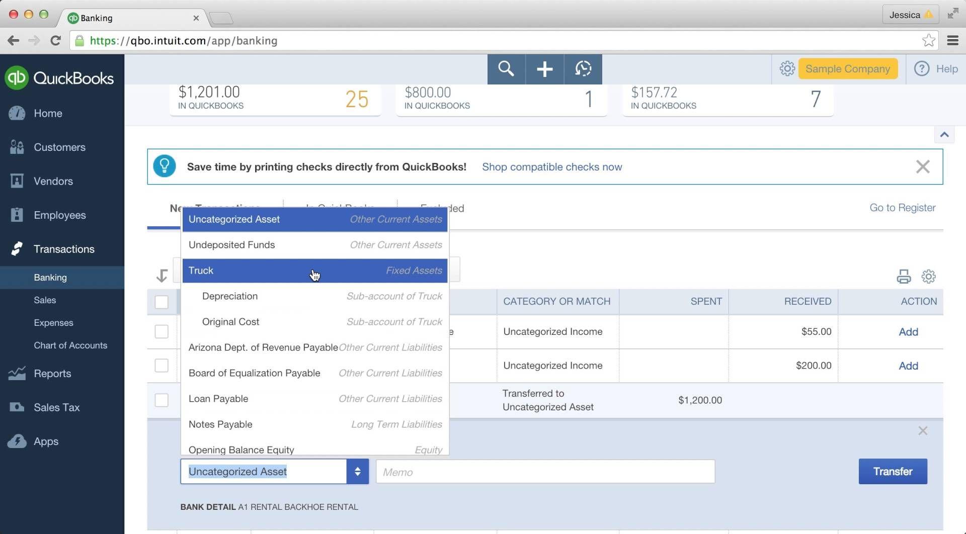 quickie quickbooks online tutorials: recording a transfer   books