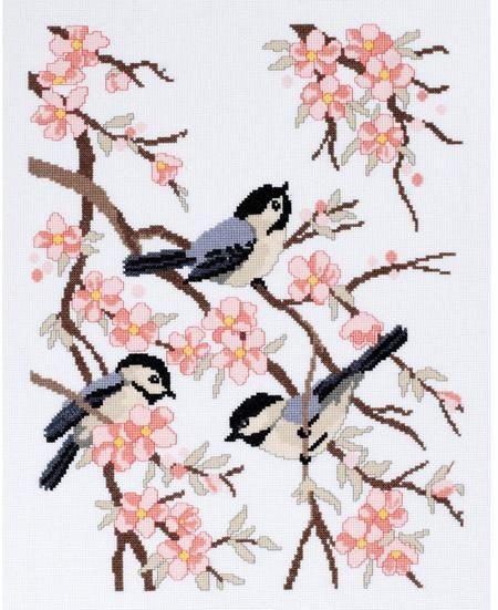 Fugle på blomstrende grene (intet skema, desværre!)..