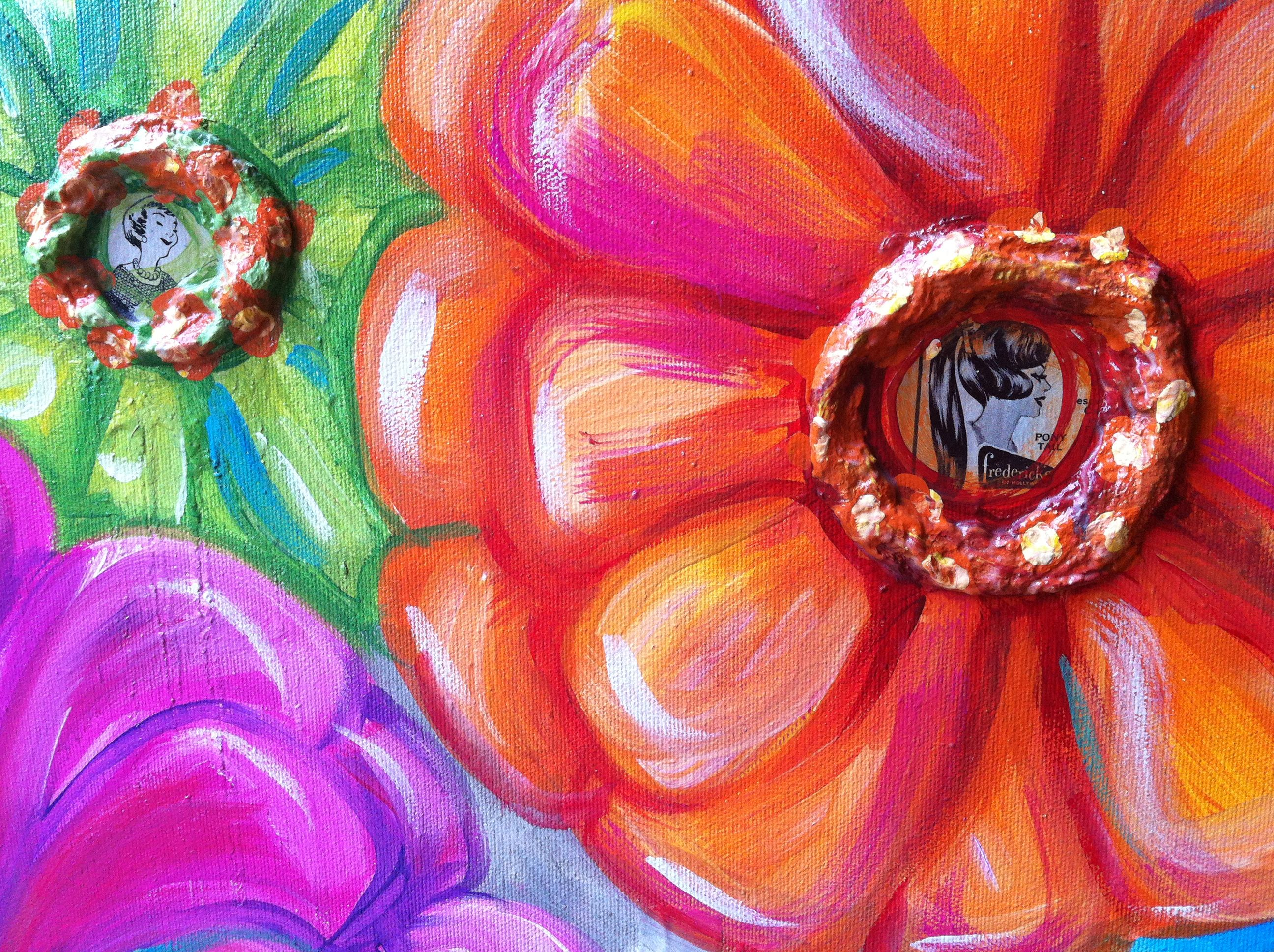 Colorful Flowers Painting Colorful mod flower painting   Art ...