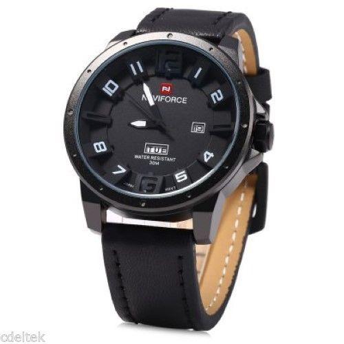 NAVIFORCE 9061 Water Resistant Fashionable Men Quartz Wristwatch - BLACK