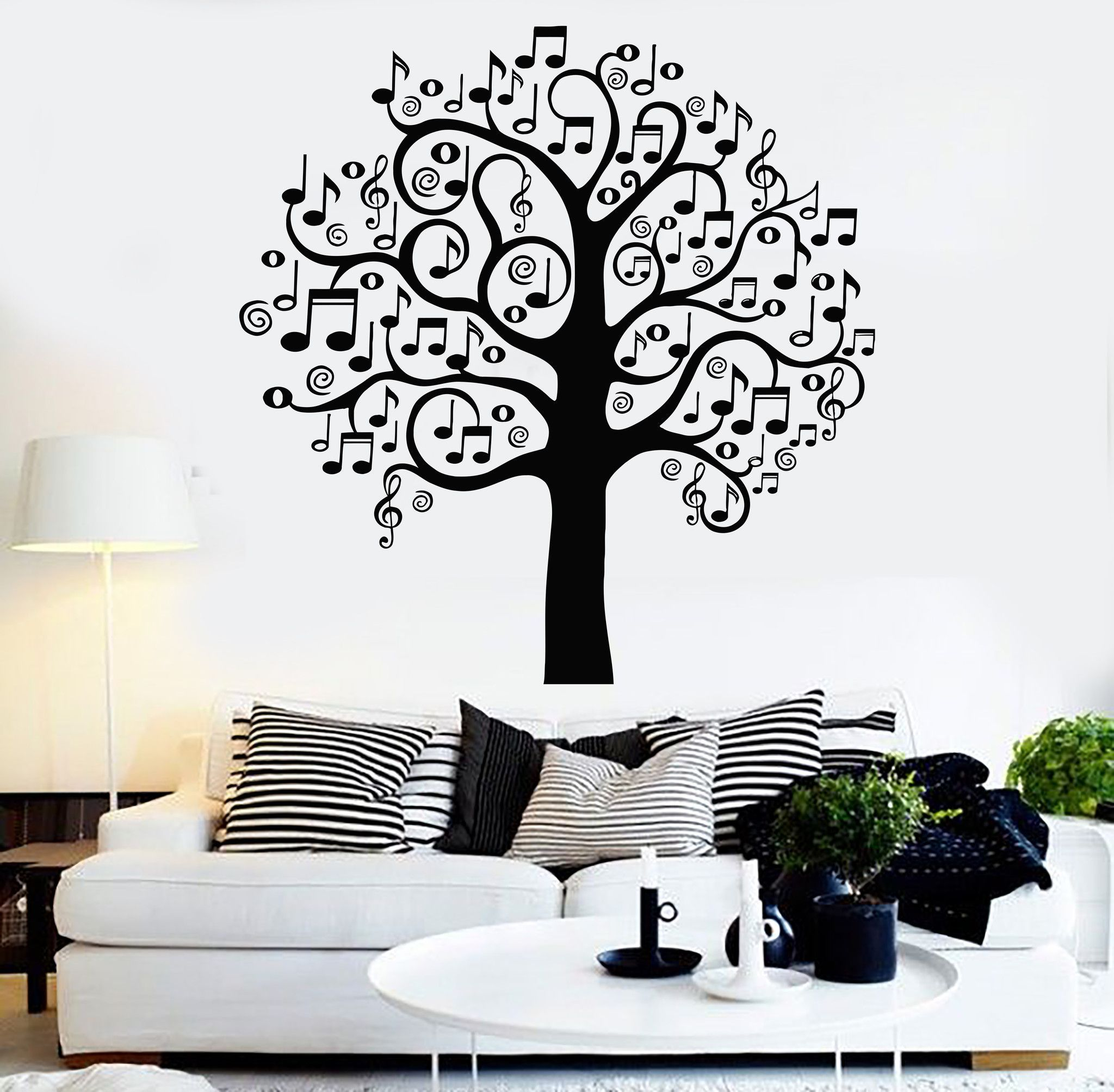 Vinyl Wall Decal Musical Tree Music Art Decor Home Decoration Stickers  Mural (141ig)