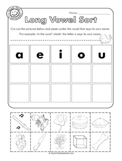 long vowel sort cut and paste abc pinterest long vowels worksheets and kindergarten reading. Black Bedroom Furniture Sets. Home Design Ideas